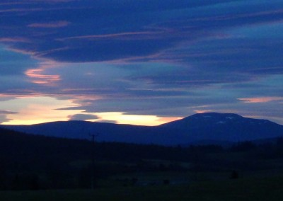 Sunset on Blue Morven from across my fields