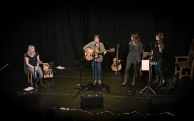 Frieda on stage with Sarah and Delane - guest Carey Lunan.